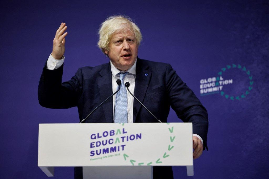 Le Premier ministre britannique, Boris Johnson, lors de la cérémonie de clôture du deuxième jour du Sommet mondial sur l'éducation à Londres, le 29 juillet 2021.