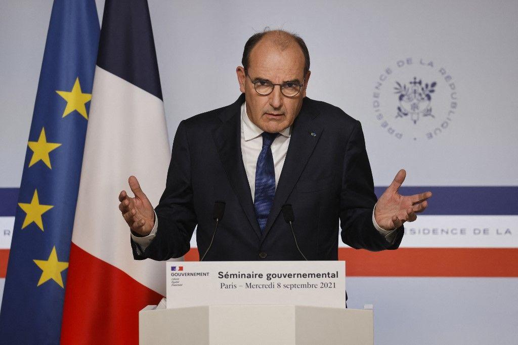 Le Premier ministre Jean Castex prononce un discours lors d'un point presse à l'Elysée, le 8 septembre 2021, à Paris. Il a notamment évoqué la question de la réforme des retraites.