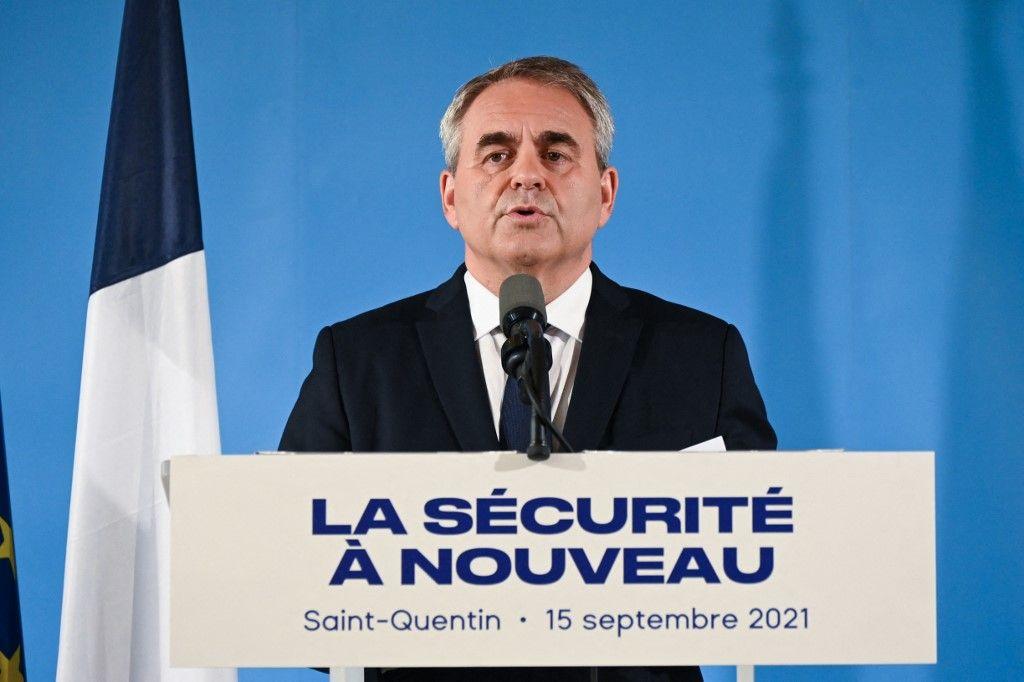 Xavier Bertrand lors de son allocution sur la sécurité, depuis la ville de Saint-Quentin, le 15 septembre.