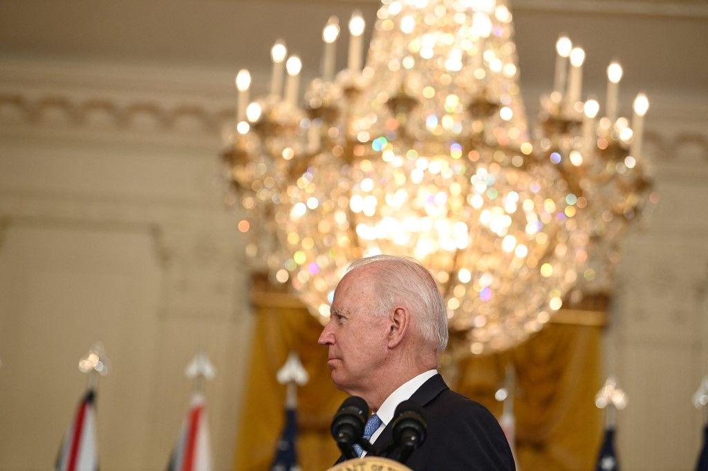 Joe Biden lors de l'annonce du partenariat stratégique avec l'Australie et le Royaume-Uni.