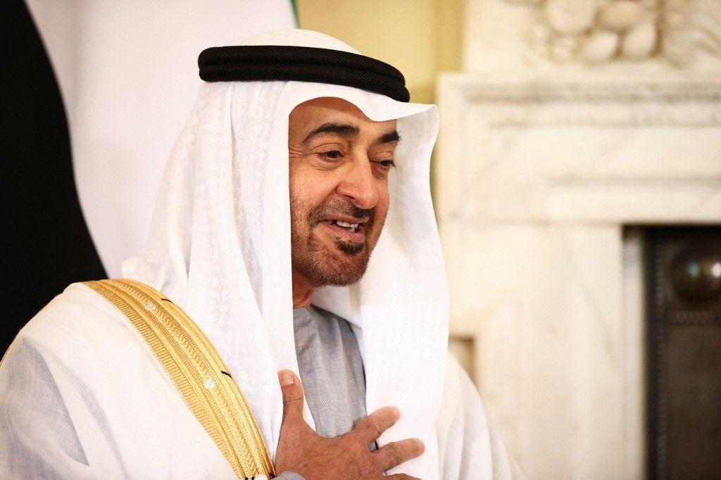 Le prince héritier d'Abou Dhabi, Mohammed ben Zayed Al Nahyan, s'exprime lors de sa rencontre avec le Premier ministre britannique Boris Johnson, à Londres, le 16 septembre 2021.
