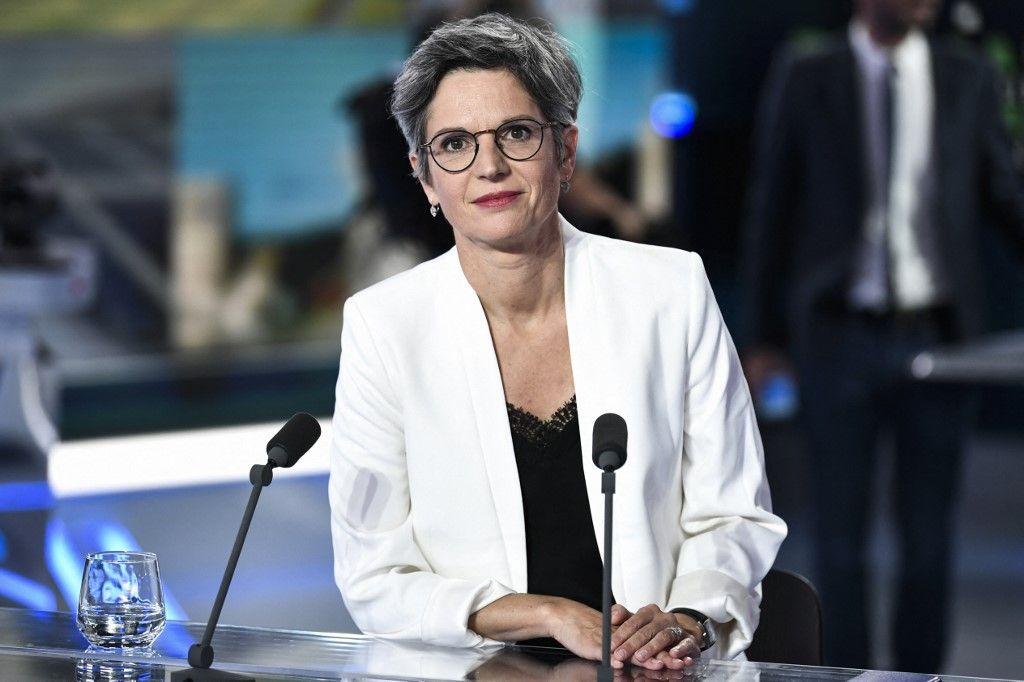 La candidate à la primaire du parti Europe Ecologie Les Verts, Sandrine Rousseau, participe à un débat sur LCI, le 22 septembre 2021.