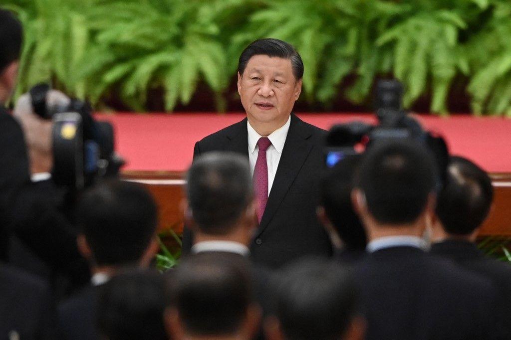Le président chinois Xi Jinping lors d'une réception au Grand Palais du Peuple à la veille de la fête nationale chinoise à Pékin, le 30 septembre 2021.