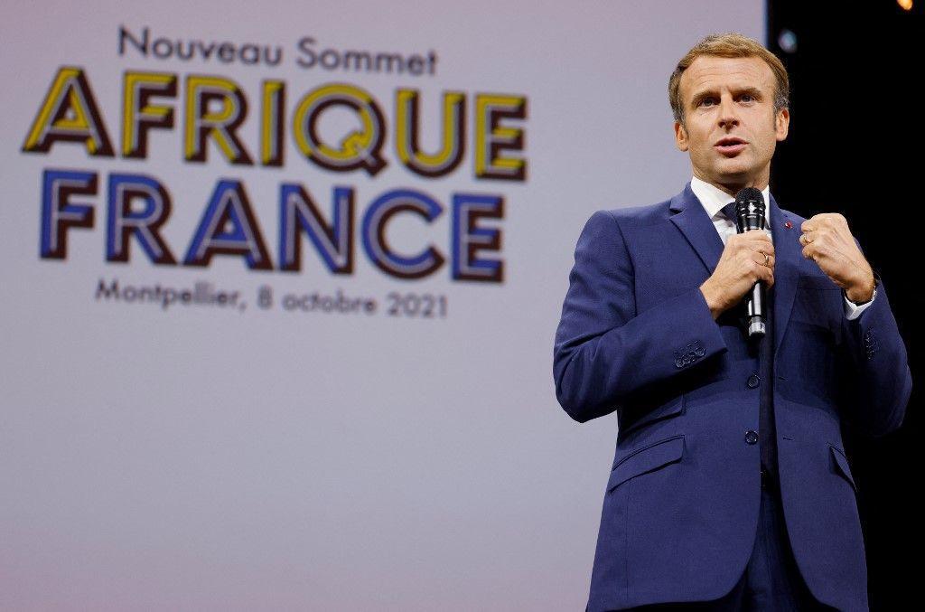 """Emmanuel Macron s'exprime lors du Sommet """"Afrique-France"""" réunissant quelque 3000 entrepreneurs, artistes ou personnalités sportives du continent africain à Montpellier, le 8 octobre 2021."""