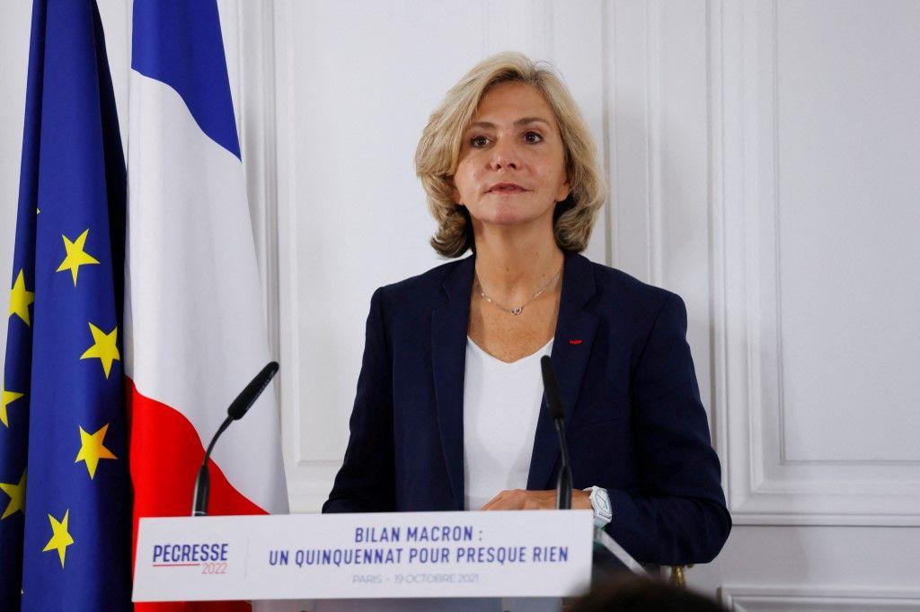Valérie Pécresse, candidate à l'élection présidentielle de 2022 lors d'une conférence de presse sur l'analyse du bilan du quinquennat d'Emmanuel Macron.