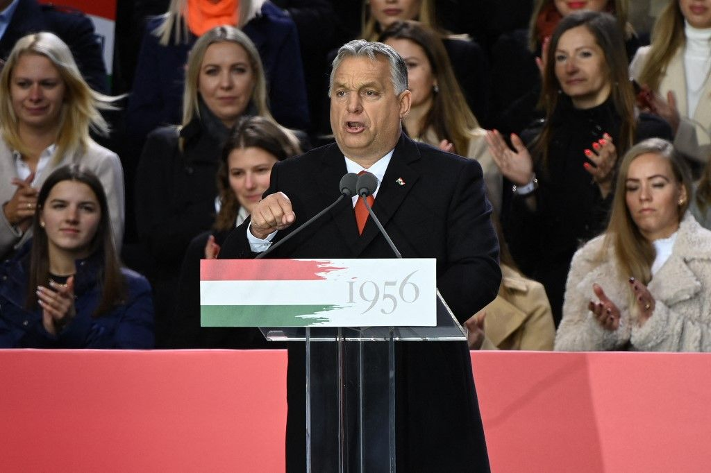 Le Premier ministre hongrois, Viktor Orban, prononce un discours le 23 octobre 2021, pour commémorer le 65e anniversaire du soulèvement hongrois contre l'occupation soviétique.