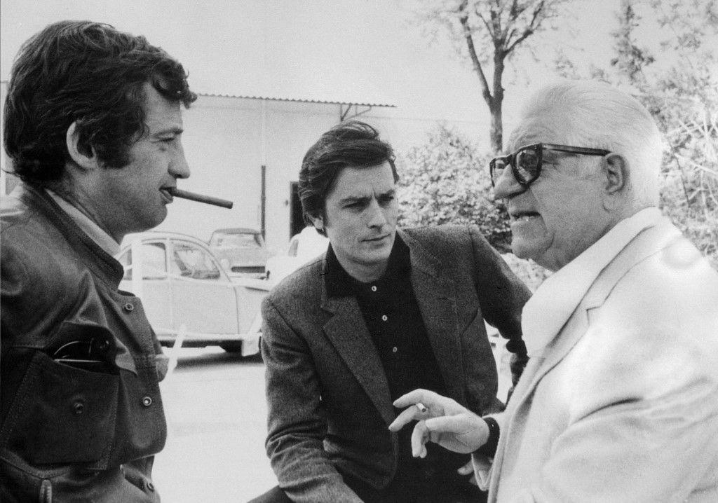 Les acteurs français Jean-Paul Belmondo, Alain Delon et Jean Gabin.