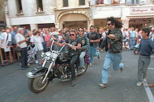 Johnny Hallyday en Harley-Davidson, en juin 1994.
