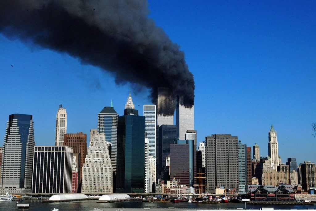 Une vue des twin towers de New York lors des attentats du 11 septembre 2001.