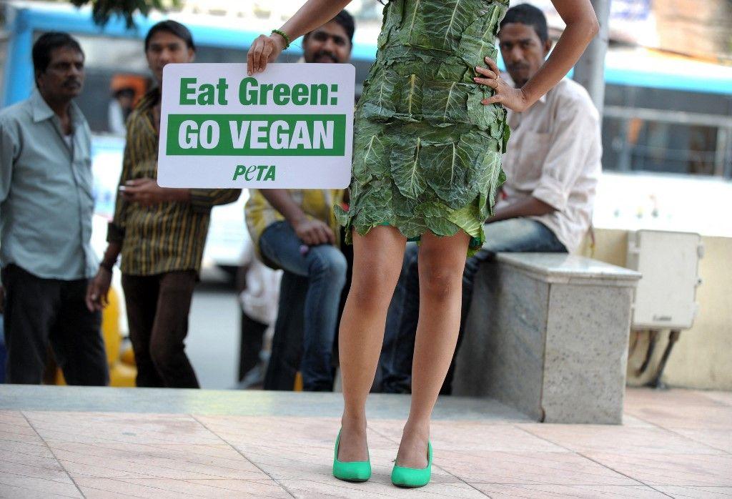 Une activiste de PETA pose avec une robe faite de feuilles de laitue et tient une pancarte lors d'une manifestation en Inde en octobre 2013.