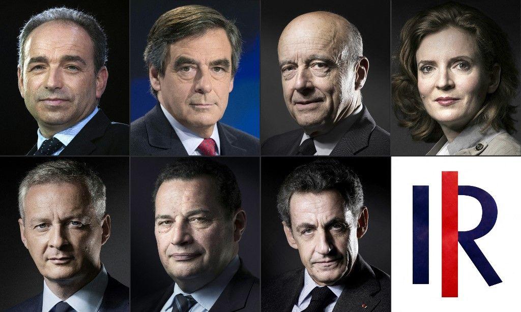 Les portraits des candidats à la primaire du parti Les Républicains avant l'élection présidentielle de 2017 (Jean-François Copé, Alain Juppé, Nathalie Kosciusko-Morizet, Bruno Le Maire et Nicolas Sarkozy).