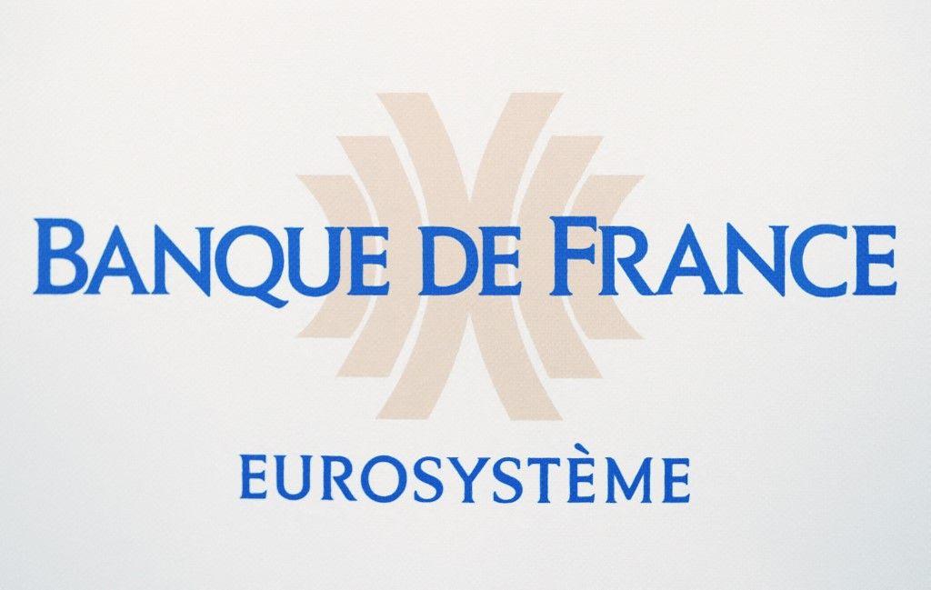 Une photo prise le 13 mars 2017 à Paris montre le logo de la Banque de France.