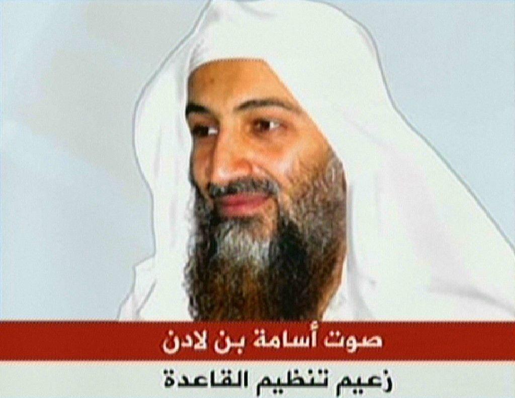Le portrait d'Oussama Ben Laden diffusé sur une chaîne de télévision.