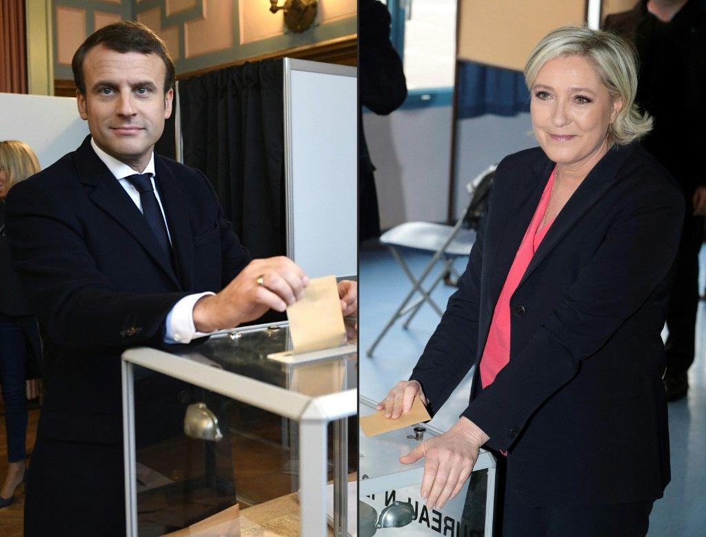 Un montage de photographies montrant Emmanuel Macron et Marine Le Pen en train de voter.
