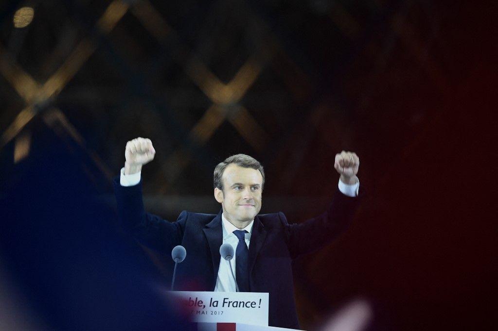 Emmanuel Macron lors de sa victoire en 2017