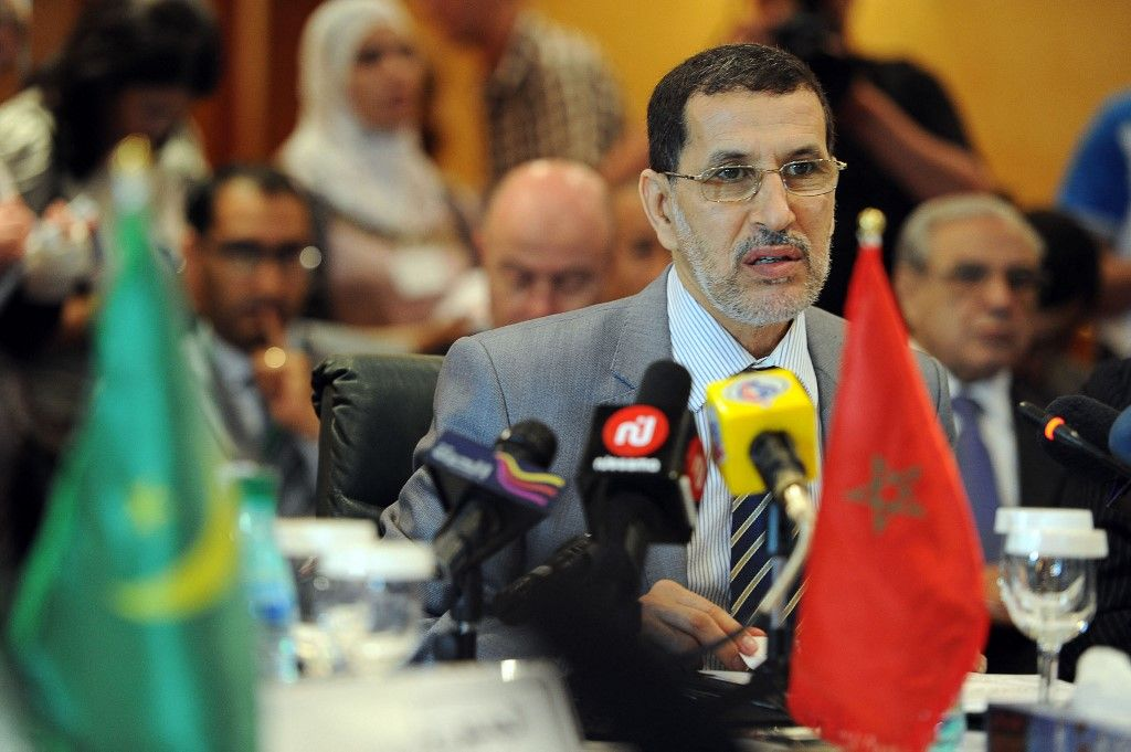 Saad Dine El Othmani prend la parole lors d'une réunion des ministres des Affaires étrangères de l'Union du Maghreb arabe, à Alger, le 9 juillet 2012.