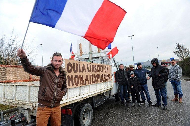 Manifestation de gens du voyage à Seysses, dans la banlieue de Toulouse en 2013