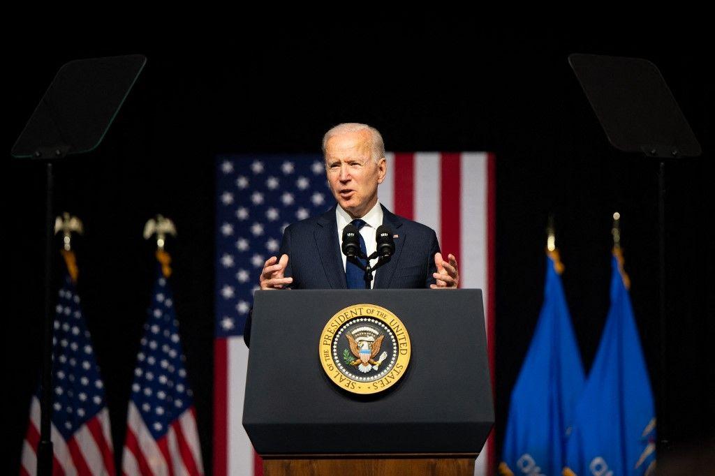 Le président américain Joe Biden prend la parole lors d'un rassemblement le 1er juin 2021 à Tulsa, dans l'Oklahoma. L'économie américaine crée moins d'emplois que prévu.