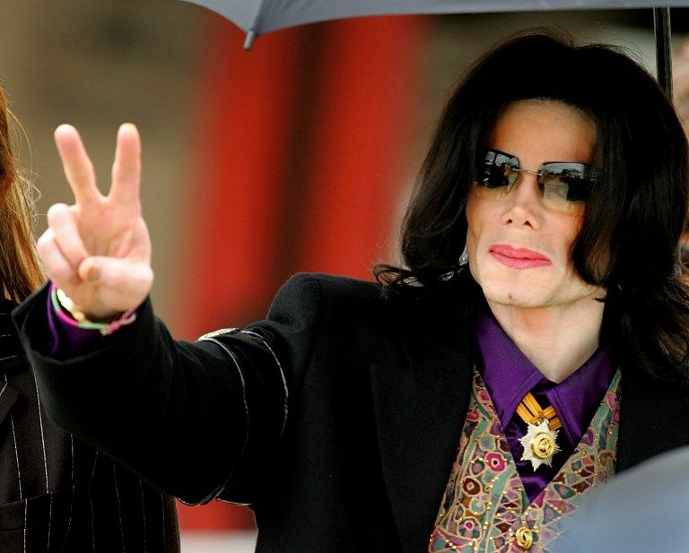 Le chanteur Michael Jackson lors de son procès aux Etats-Unis dans les années 2000.