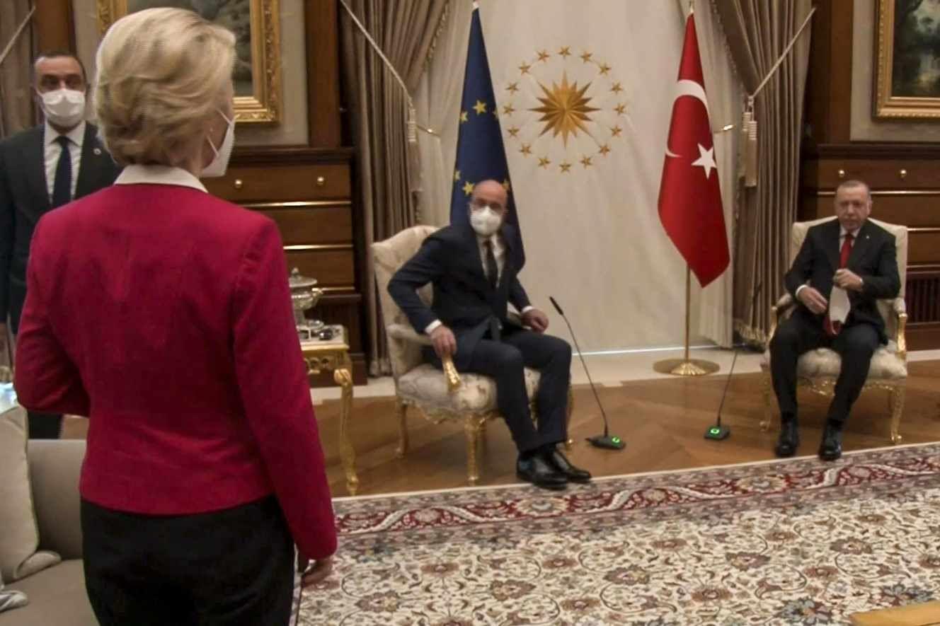 Charles Michel, Recep Tayyip Erdogan et Ursula von der Leyen en Turquie le 6 avril 2021.