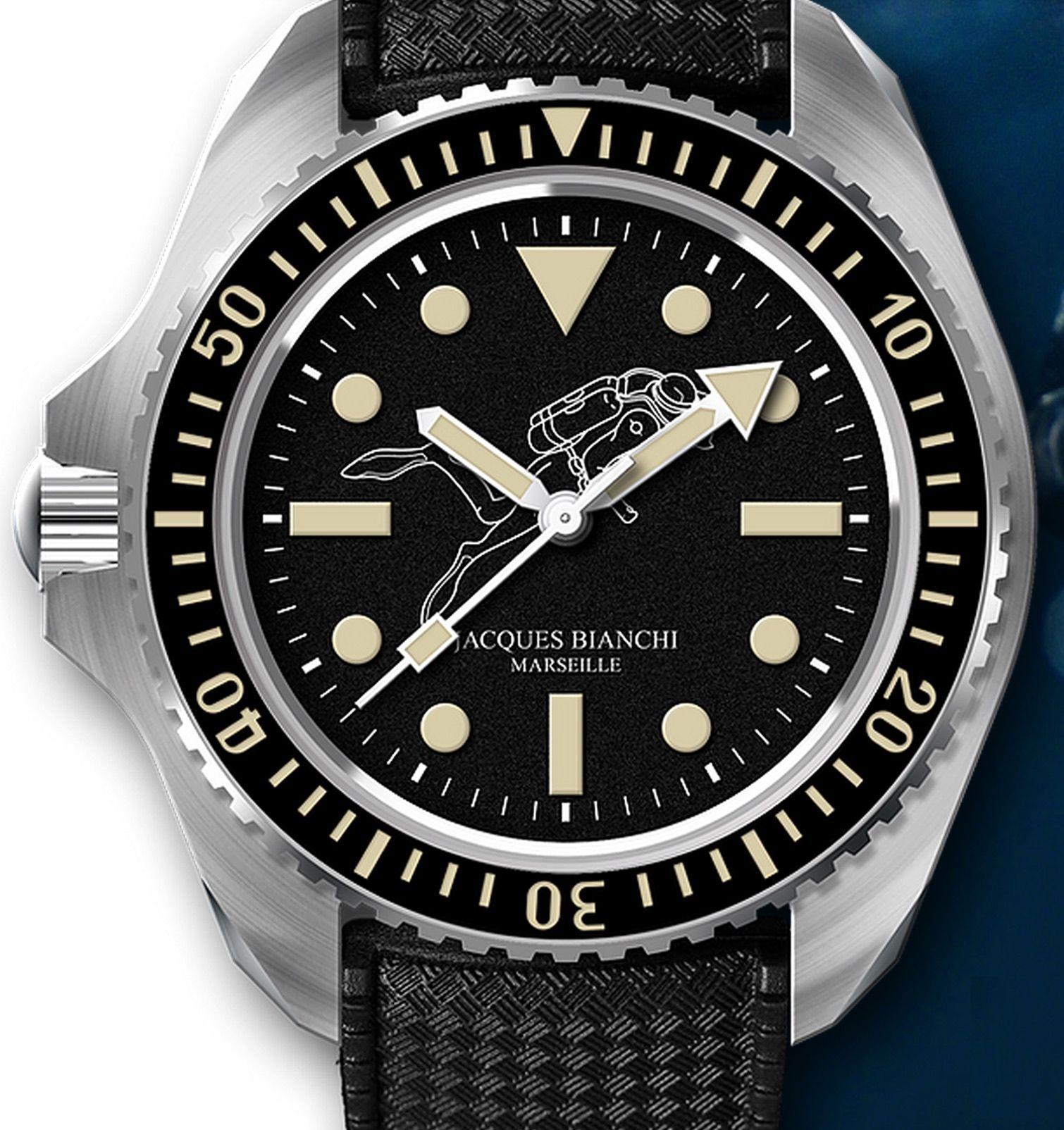 Un plongeur qui palme sur le cadran d'une «plongeuse» de légende (Jacques Bianchi)…