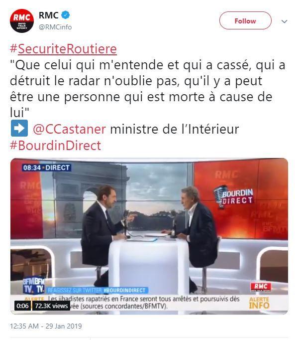 Le Parisien enquête et corrige les propos tenus par Christophe Castaner au sujet des radars vandalisés