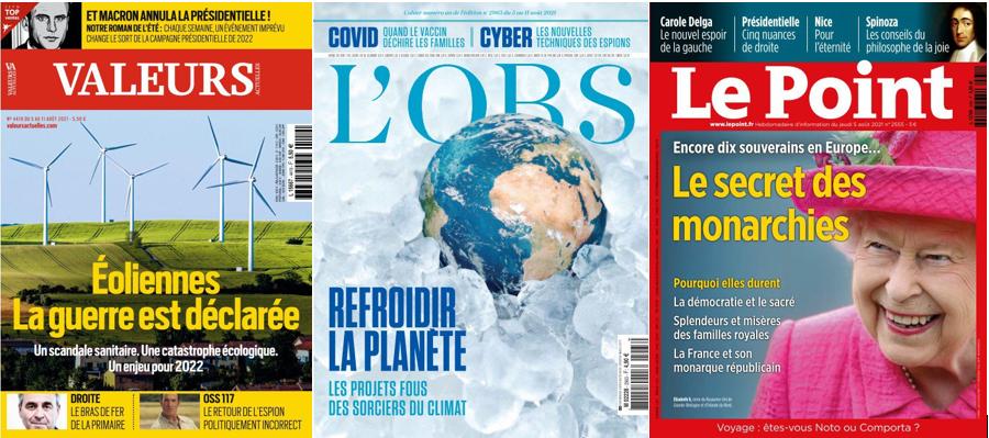 Eoliennes, réchauffement climatique et monarchies : c'est la revue de presse des hebdos.