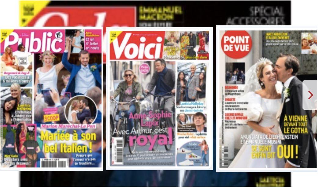 Après l'hommage à Johnny, Laeticia Hallyday fait la couverture de 4 hebdos cette semaine. Au menu également, le mariage Marion Maréchal-Le Pen, et Anne-Sophie Lapix à vélo