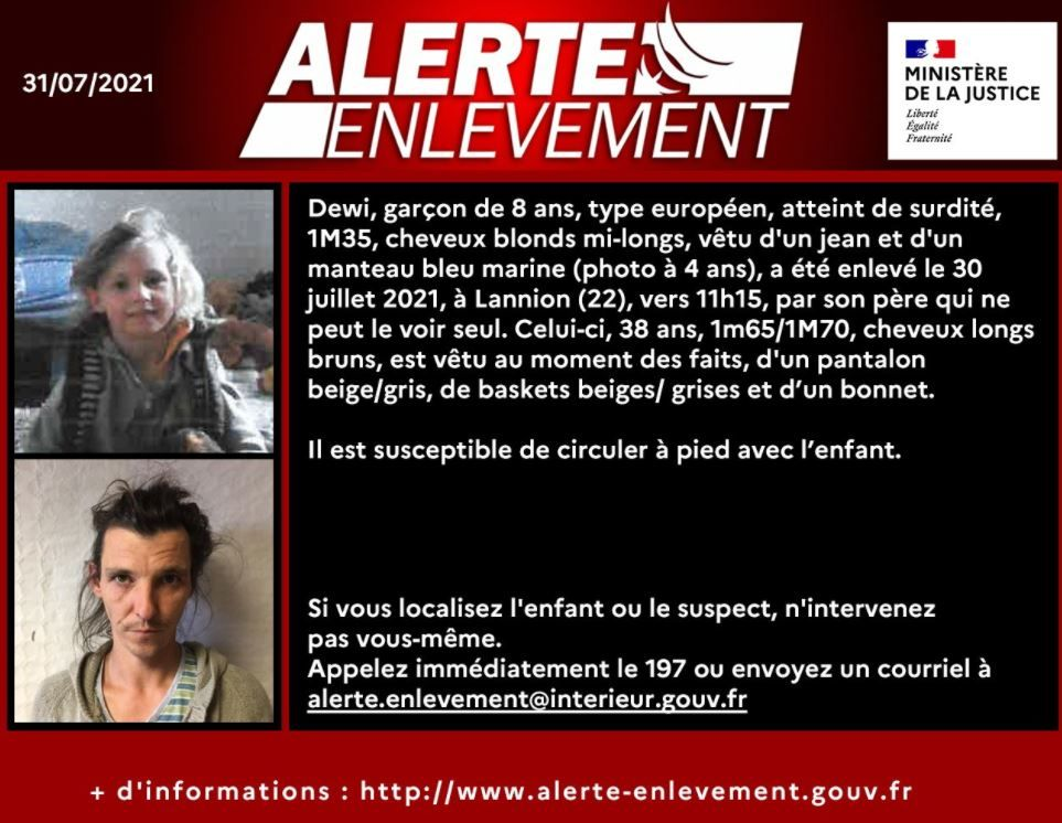 L'alerte enlèvement a été activée ce samedi 31 juillet 2021.
