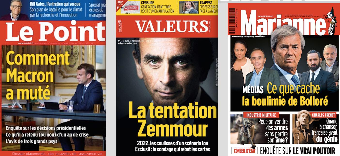 revue de presse des hebdos Eric Zemmour sondage valeurs actuelles Chine Covid-19 Emmanuel Macron