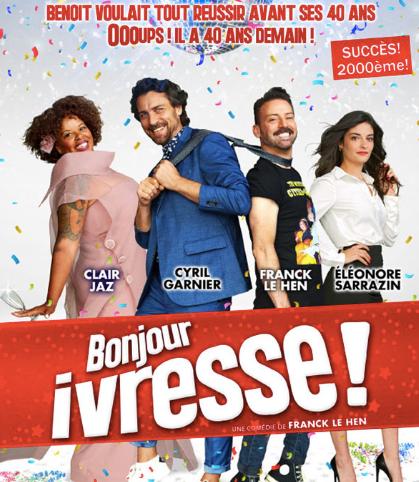 """La pièce """"Bonjour Ivresse"""" de Franck Le Hen est à découvrir au Théâtre Trévise Paris et à l'Apollo Théâtre en ce mois de septembre."""