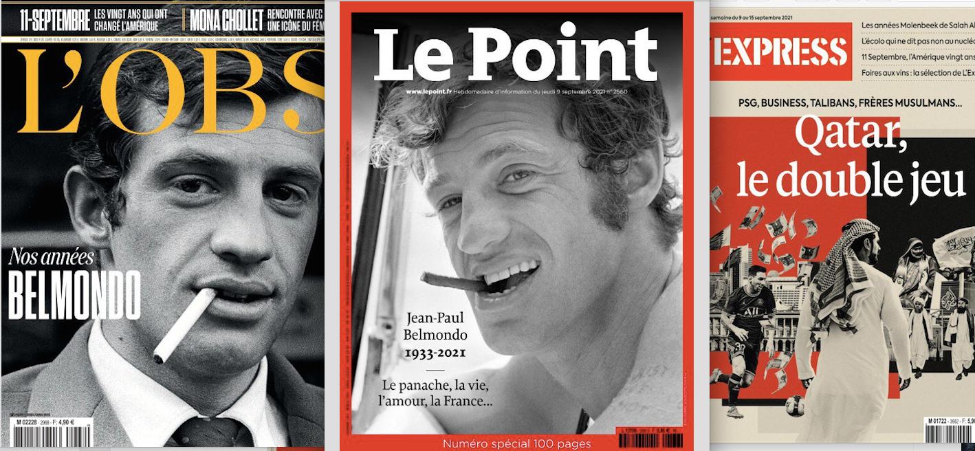 Jean-Paul Belmondo à la Une. Celle du Point avec un numéro spécial de 100 pages qui est entièrement consacré à l'acteur comme Paris Match (70 pages)