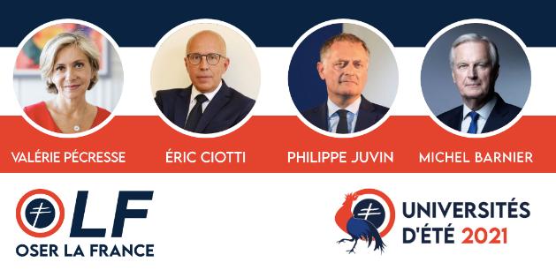 Le mouvement Oser la France organise la 4ème édition des universités d'été le samedi 18 septembre 2021. Les quatre candidats à la primaire de la droite seront présents.