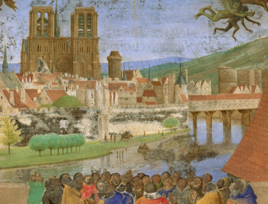 Une illustration de Jean Fouquet montrant Paris dans les années 1450.