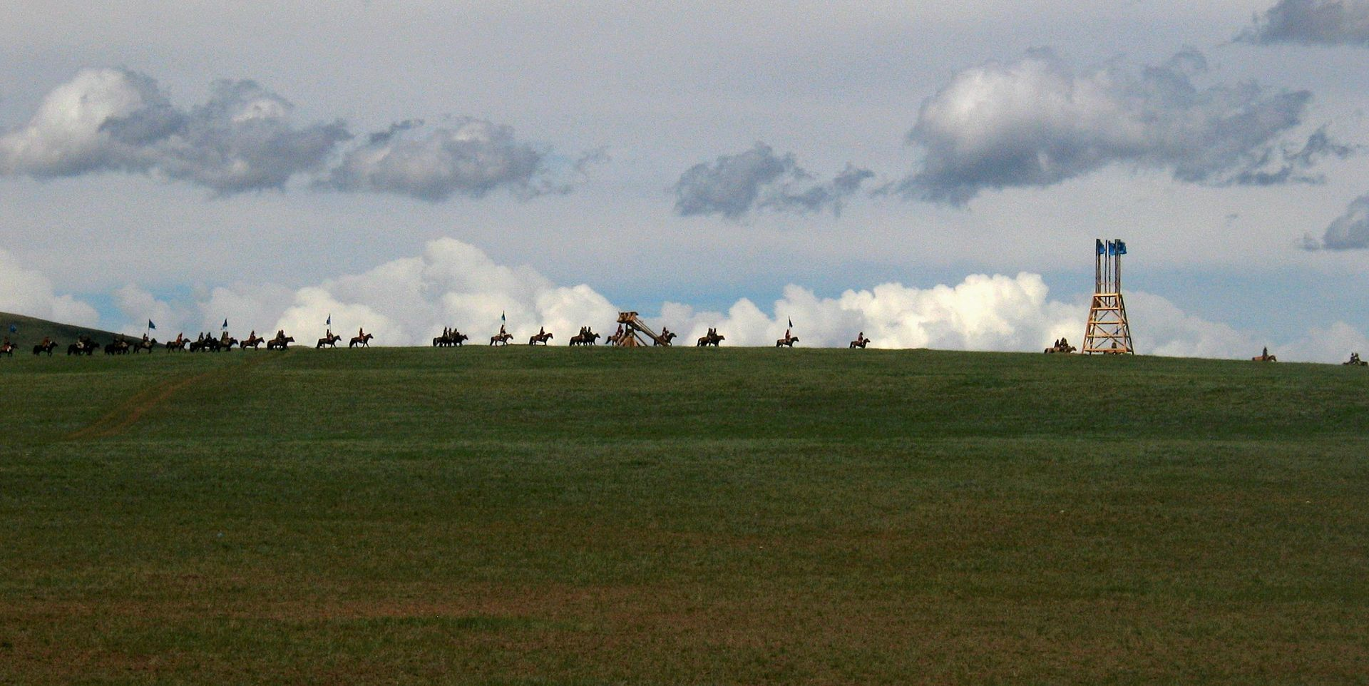 Reconstitution historique d'un mouvement militaire mongol.