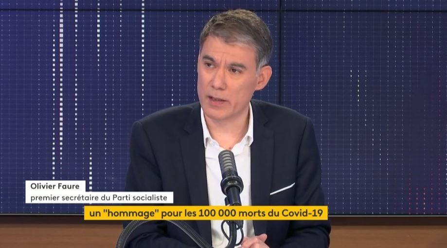 """100.000 morts du Covid-19 : Emmanuel Macron a """"évidemment"""" sa part de responsabilité, selon Olivier Faure."""