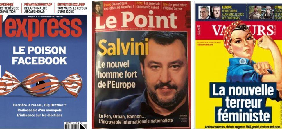 Nicolas Hulot saisi par le vertige de l'impuissance des écologistes;  l'Express se paie Facebook (un poison), Valeurs Actuelles les féministes radicales (des terreurs), l'Obs, les populistes (une maladie mortelle) et Marielle de Sarnez;