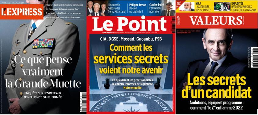 L'Express questionne la grande muette, Le Point raconte l'avenir vu par les services secrets, Zemmour et sa probable candidature font la une de Valeurs actuelles.