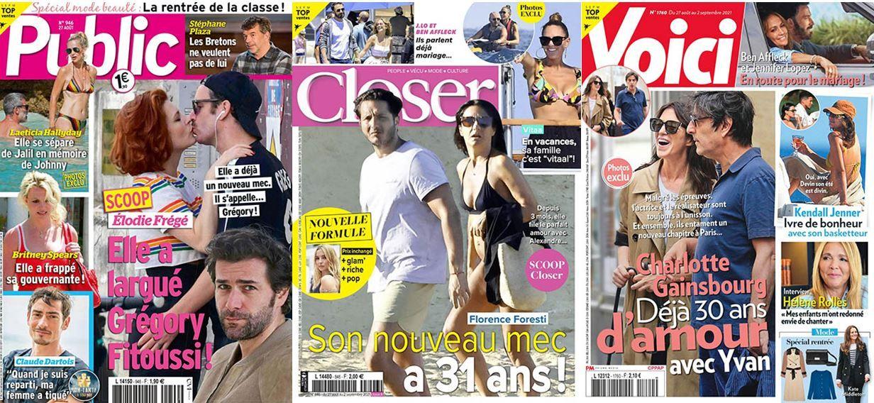 Florence Foresti est en Une de Closer, Charlotte Gainsbourg et Yvan Attal sont en couverture de Voici.