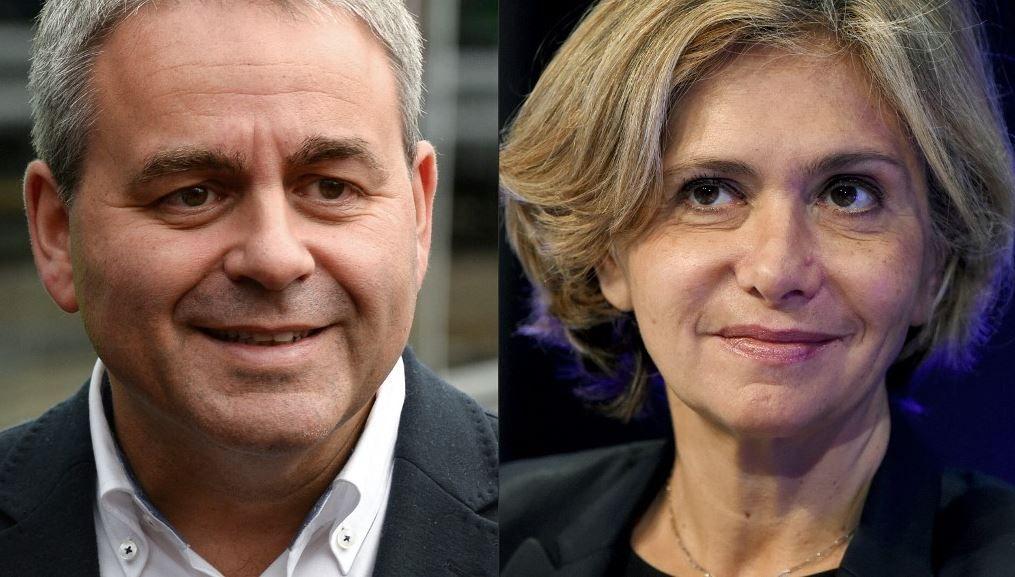 Une combinaison d'images d'archives du président de la région des Hauts-de-France, Xavier Bertrand, et de la présidente de la région Ile-de-France, Valérie Pécresse.