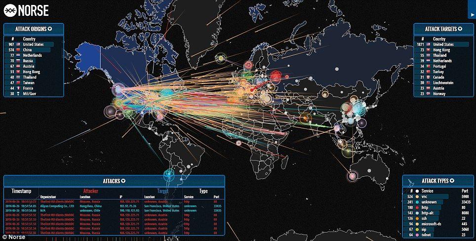 Cette carte interactive a pour objectif de montrer à quel point se connecter à Internet peut être dangereux.