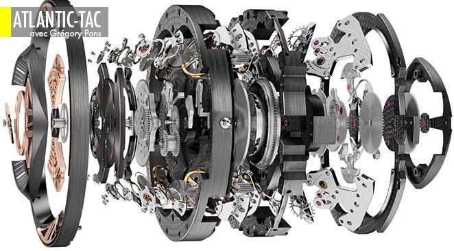 Le mouvement Roger Dubuis RD 101 : 590 composants, tous réalisés par la manufacture de Genève, avec quatre balanciers et cinq différentiels pour les harmoniser…