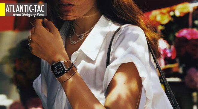 C'est le bracelet en cuir à piqûres sellier qui change tout, avec le cadran Hermès Paris et la promesse de la petite boîte en carton orange pour emballer une Apple Watch qui se voit sacrée objet de luxe de cette fin 2015…