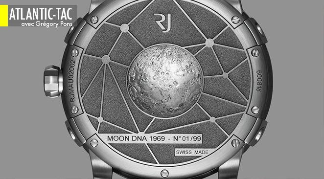 Promise à une légère patine oxydée, la Lune d'argent de RJ-Romain Jerome est sculptée dans un alliage qui intègre de la vraie poussière lunaire…