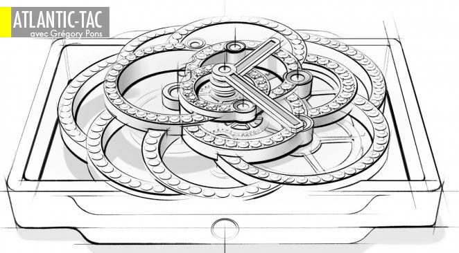 Des volutes d'or qui deviendront les architraves d'un mouvement conçu comme le calice d'un précieux camélia…