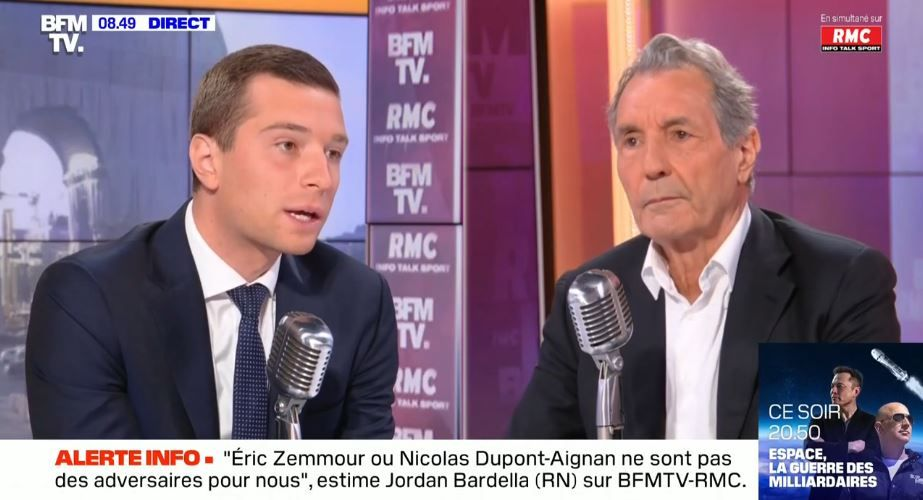 Jordan Bardella était l'invité, ce lundi 13 septembre, de Jean-Jacques Bourdin sur BFMTV et RMC.