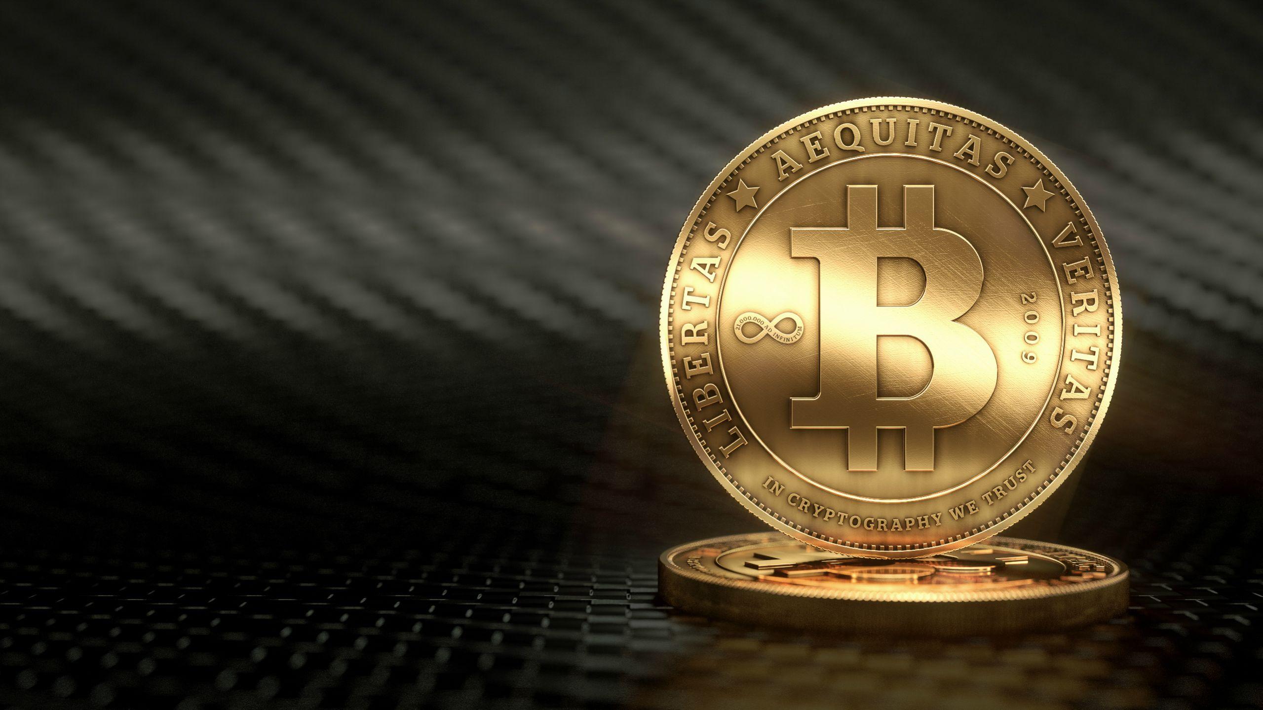 """Le symbole de la monnaire virtuelle """"Bitcoin""""."""
