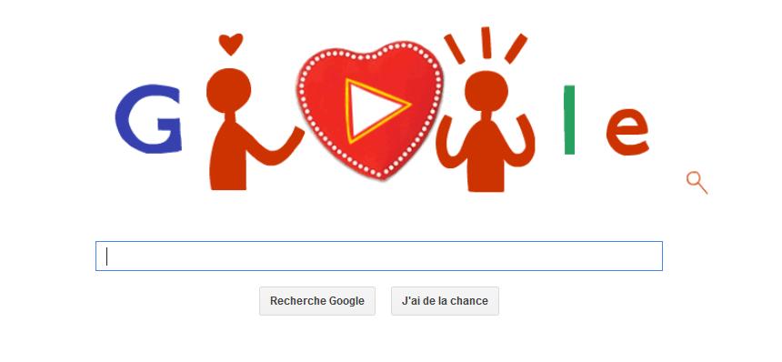 Google vous souhaite une bonne Saint-Valentin