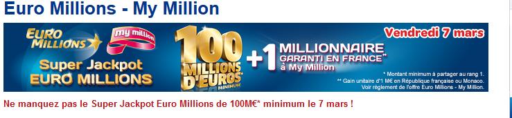 100 millions d'euros sont à gagner ce vendredi
