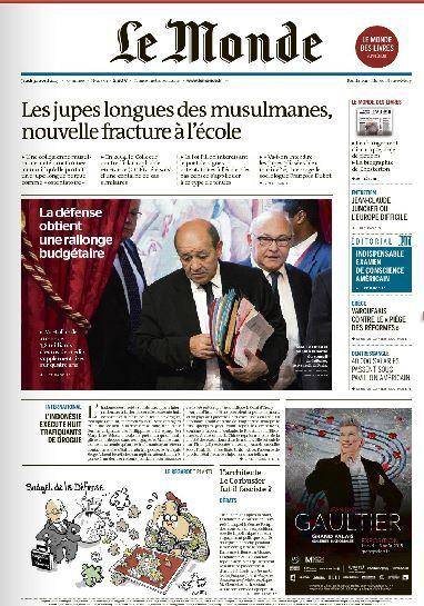 La une du journal Le Monde daté du 30 avril.